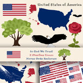 Set of principal symbols of United States of America map flag and slogan 2 seamless patterns with american flag and map
