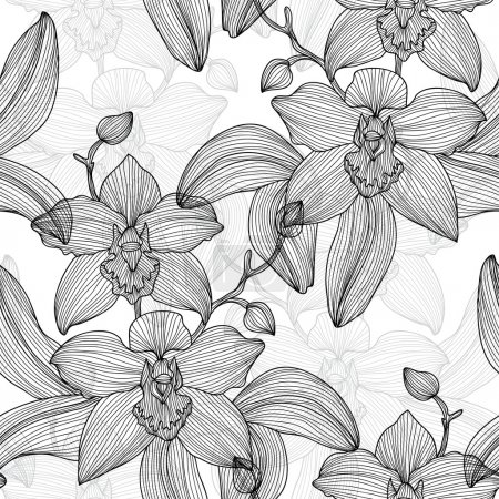 Illustration for Elegant seamless pattern with hand drawn decorative orchid flowers, design elements. Floral pattern for wedding invitations, greeting cards, scrapbooking, print, gift wrap, manufacturing. - Royalty Free Image