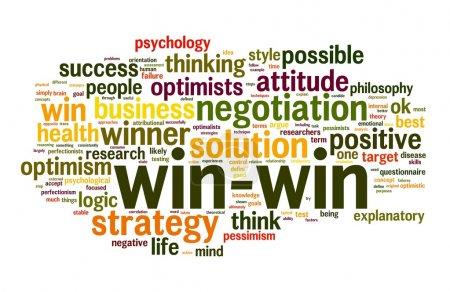 Photo pour Concept de solution de négociation gagnant-gagnant en nuage de mots clés sur fond blanc - image libre de droit