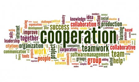 Cooperation and teamwork concept in word tag cloud