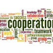 Cooperation and teamwork concept in word tag cloud...