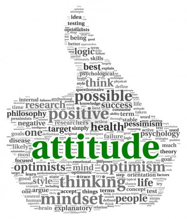 Photo for Attitude concept in word tag cloud of thumb up shape - Royalty Free Image