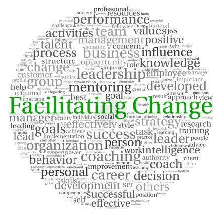 Facilitating Change concept in word tag cloud on w...
