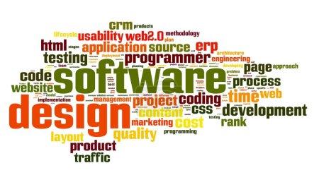 Photo pour Concept de conception logicielle en tag cloud sur fond blanc - image libre de droit