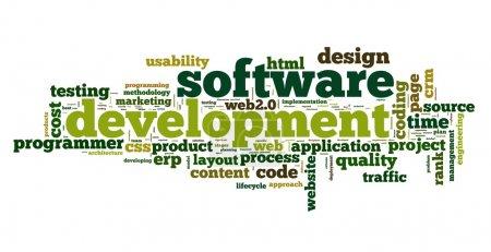 Photo pour Concept de développement logiciel en tag cloud sur fond blanc - image libre de droit