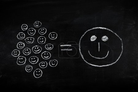 Many small joys can give you happiness equation - concept illustrated on chalkboard