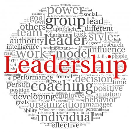 Photo pour Concept de leadership dans word tag cloud sur fond blanc - image libre de droit