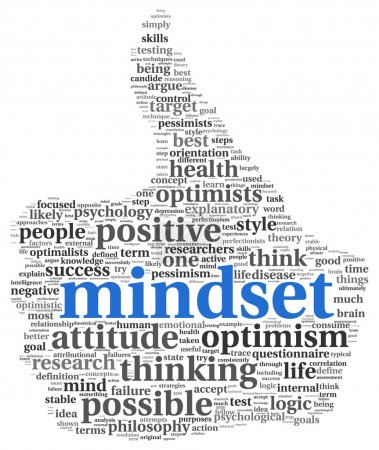 Photo for Mindset concept in word tag cloud of thumb up shape - Royalty Free Image