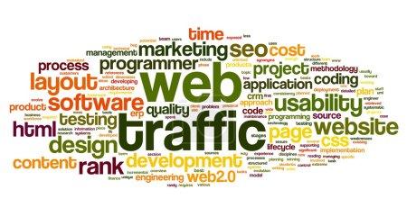 Photo pour Concept de trafic Internet dans le nuage de Tags mot sur blanc - image libre de droit