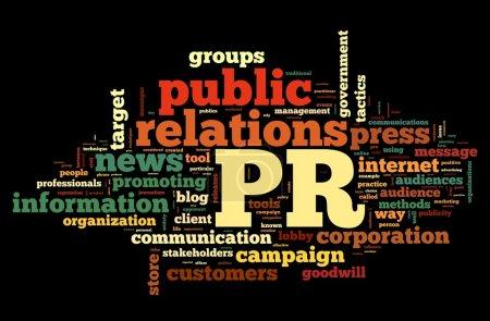 Photo pour Concept de relations publiques dans word tag cloud sur fond noir - image libre de droit