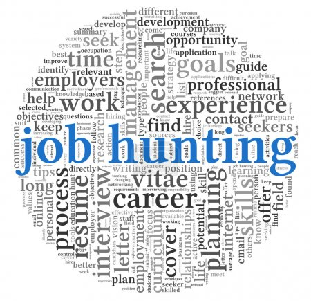 Job hunting concept in word tag cloud