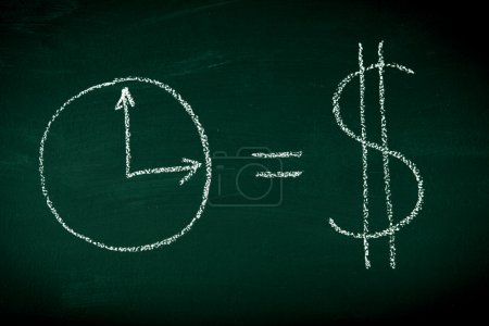 Photo for Time is money equation drown on chalkboard - Royalty Free Image
