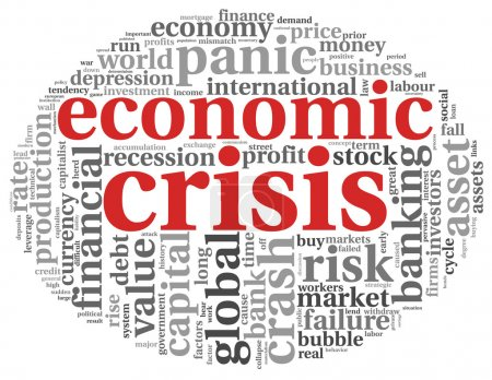 Economic crisis concept on white