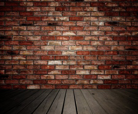 Brick wall and wooden planks