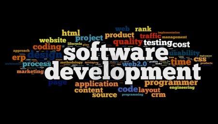 Photo pour Concept de développement de logiciels dans le nuage de Tags sur fond noir - image libre de droit