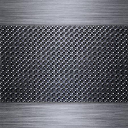 Steel mesh over brushed aluminum