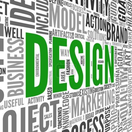 Photo pour Concept de design dans le nuage de Tags sur blanc - image libre de droit