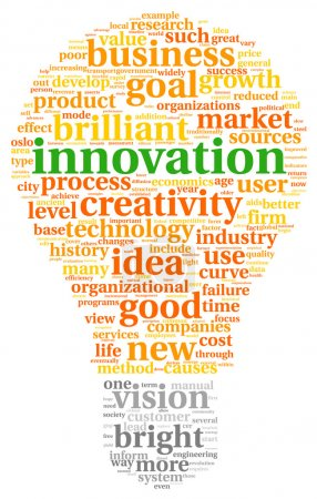 Innovation and technology concept in tag cloud