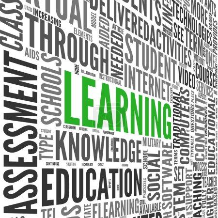 Photo pour Concept d'apprentissage et d'éducation en nuage de mots clés 3d sur blanc - image libre de droit
