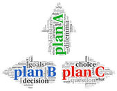 Arrows with plan A plan B and plan C