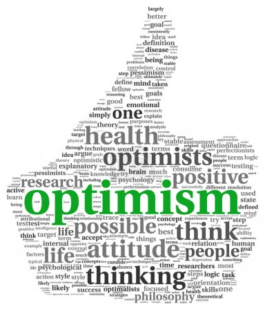 Photo for Optimism concept in word tag cloud of thumb up symbol - Royalty Free Image