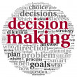 Decision making concept in tag cloud on white back...