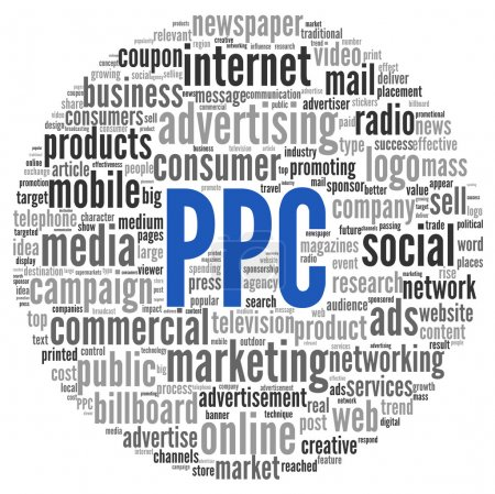PPC and advertising concept in word tag cloud