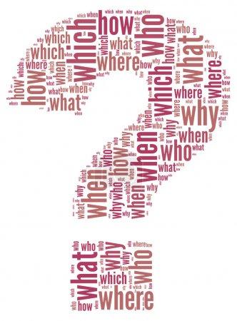 Photo pour Notion de questions en question mark de nuage de Tags mot - image libre de droit