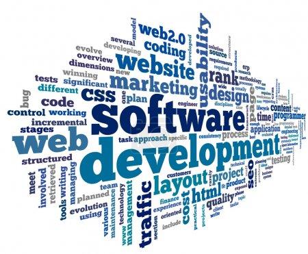 Photo pour Concept de développement de logiciels dans le nuage de Tags sur fond blanc - image libre de droit