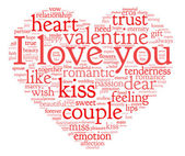 I love you and valentine concept in word tag cloud