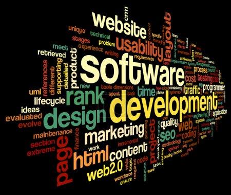 Photo pour Concept de développement logiciel en tag cloud sur fond noir - image libre de droit