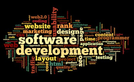 Photo for Software development concept in tag cloud on black background - Royalty Free Image