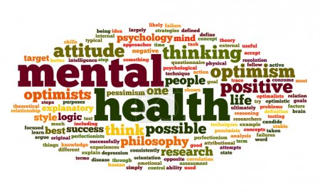 Photo for Mental health concept in word tag cloud on white - Royalty Free Image