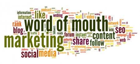 Photo pour Le bouche à oreille dans les médias sociaux dans le nuage de Tags mot sur fond blanc - image libre de droit