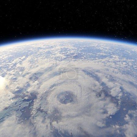 Photo pour Cyclone vue depuis la terre orbite 3d render - image libre de droit