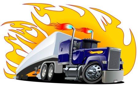 Vector Cartoon Semi Truck. One-click repaint