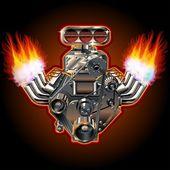 Vector Cartoon Turbo Engine