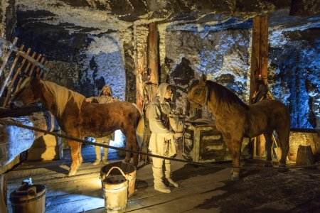 Medieval miners and horses at work in the Wieliczka Salt Mine, Poland.