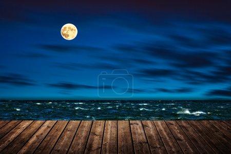 Night wooden pier