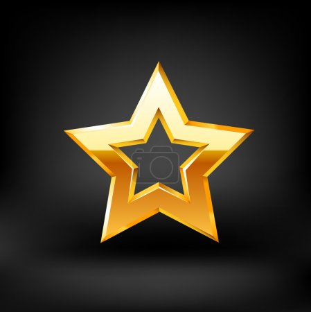 Gold star on black background. Vector