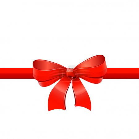 Red ribbon with bow. Vector