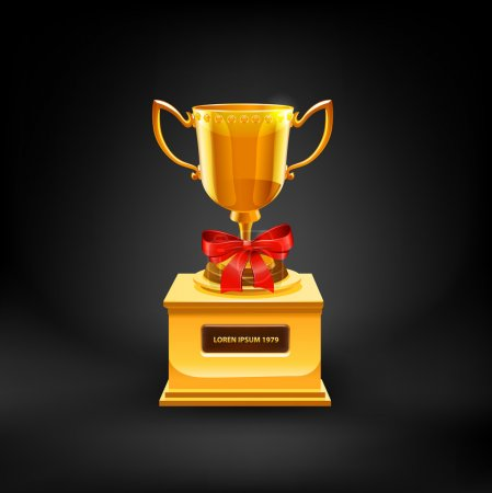 Illustration for Gold Trophy Cup. Vector - Royalty Free Image