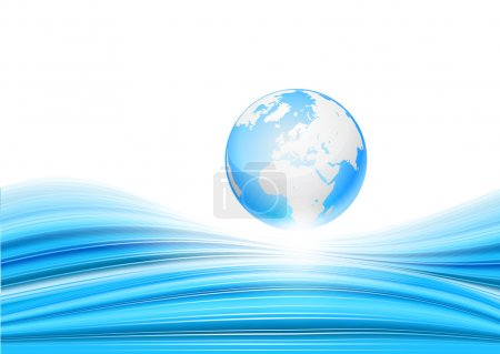 Blue background with Globe.