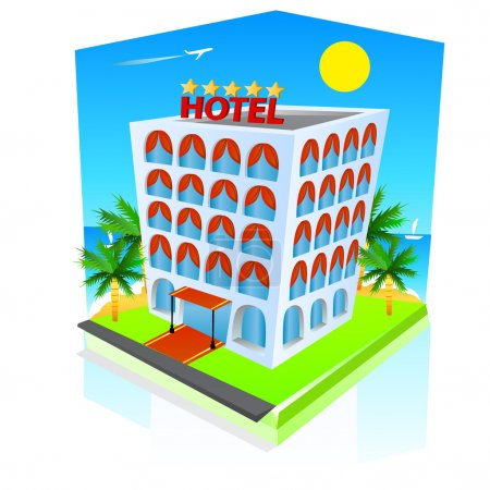 Illustration for Hotel icon. Vector - Royalty Free Image