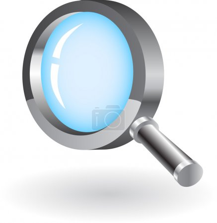 Magnifying glass isolated on white background. Transparency.