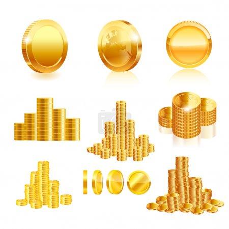 Illustration pour Ensemble de pièces d'or . - image libre de droit