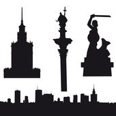 Silhouette of Warsaw in Poland- panorama Palace of Culture and Since Sigismund's Column and Warsaw Mermaid