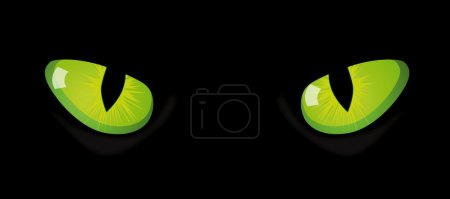 Illustration for Vector eyes of cat on black background - Royalty Free Image
