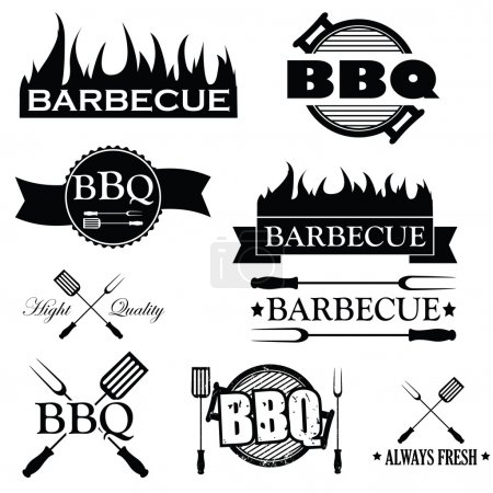 Set of bbq icons isolated on white background, vector