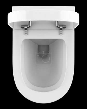 top view of modern toilet bowl isolated on black background